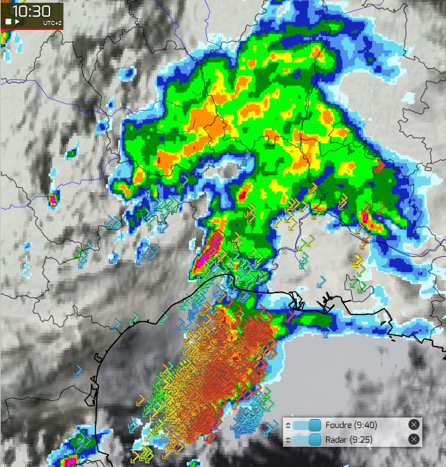 carte meteo temps reel Bref épisode d'orages forts et de très fortes pluies | épisode