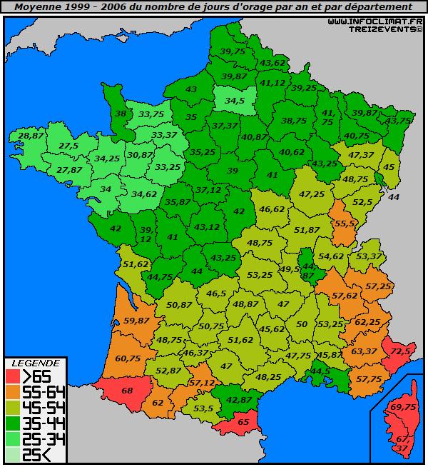 Statistiques d'activité orageuse en France depuis 1999 - Infoclimat