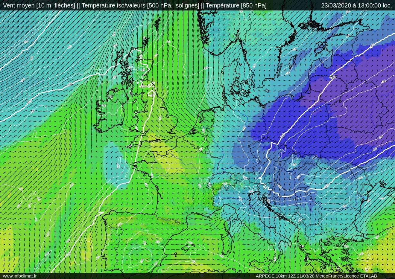 ARPEGE T850 et T500 UV10m 23 mars 12h